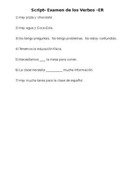 Spanish -ER Verb and Conjugation TEST SCRIPT
