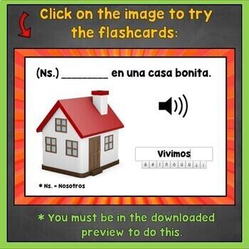 Spanish ER Verbs Flashcards, Spanish IR Verb Conjugations, Digital Flashcards