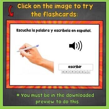 Spanish ER Verbs Flashcards, Spanish IR Verbs Writing, Digital Flashcards