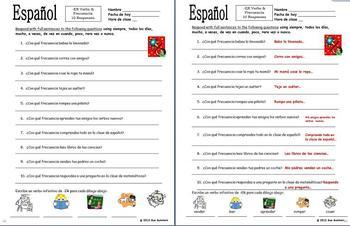 Spanish -ER Verbs & Frequency Adverbs Sentences