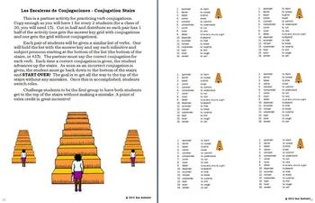 Spanish ER Verbs Pair Work Escaleras Activity, Vocabulary and Quiz