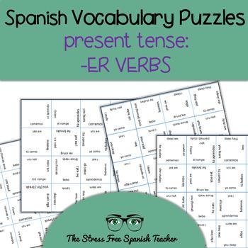 Spanish Vocabulary Puzzle -ER Verbs, Present Tense Conjugation