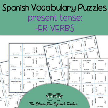 Spanish Vocabulary Puzzle -ER Verbs, Present Tense Conjugation
