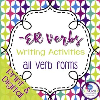 Spanish -ER Verbs Writing Activities - singular and plural