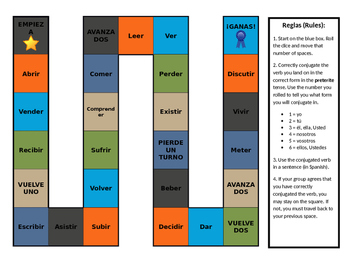 Spanish -ER and -IR Preterite Verb Conjugation Board Game