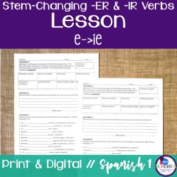 Spanish -ER and -IR Stem-Changing Verbs Lesson:  E to IE