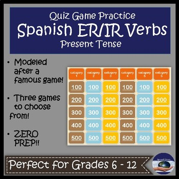 Spanish ER and IR Verb Quiz Game Show