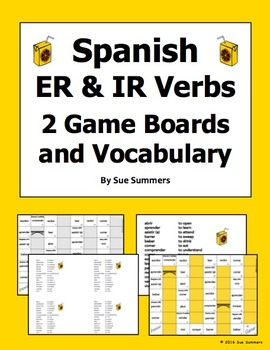 Spanish ER and IR Verbs 2 Board Games and Vocabulary