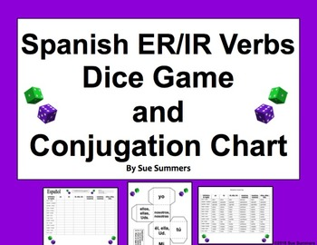 Spanish ER and IR Verbs Dice Game and Conjugation Chart Worksheet