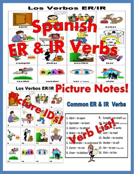 Spanish ER and IR Verbs PICTURE Notes SET