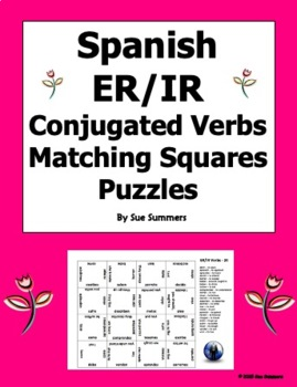 Spanish ER/IR Verbs Conjugated 4 x 4 Matching Squares Puzzle
