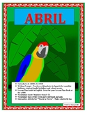 Calendario de Abril- Days of the Week/Numbers 0-30/Spanish Earth Day Color Fan