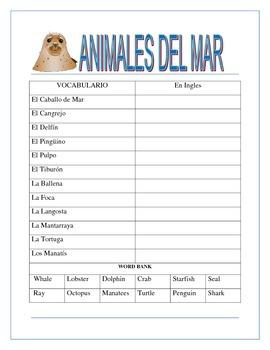 Back to School- Animales del Océano BINGO - Review Colors/Gender/Nouns