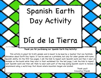 Spanish Earth Day Printable