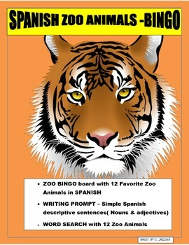 ZOOLOGICO-ZOO BINGO-Review Colors/Gender/Nouns- Animals in Spanish