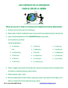 Spanish Earth Day or Environmental Unit Vocabulary and Activities