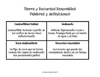 Spanish Earth & Renewable Resources Bingo