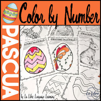 Spanish Easter Activities Color by Number Pascua Springtime Coloring Pages