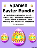Spanish Easter Bundle - 4 Worksheets, Listening, Poetry, Vocabulary, Game Cards