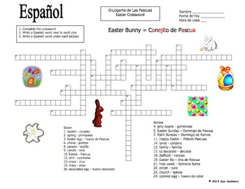 Spanish Easter Vocabulary Crossword Puzzle Worksheet and Vocabulary