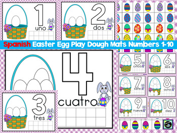 Spanish Easter Egg Play Dough mats Numbers 1-10