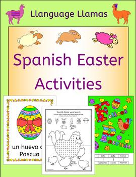 Spanish Easter activities puzzles and color by number cards