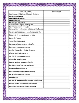 "Spanish Easter- ""Pascua Alrededor del Mundo"" Word Search & Vocabulary"