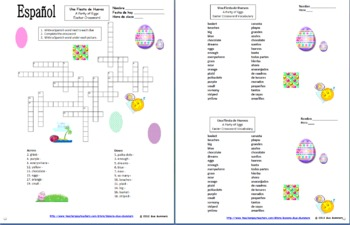 spanish easter poem crossword cloze activity and vocabulary list. Black Bedroom Furniture Sets. Home Design Ideas