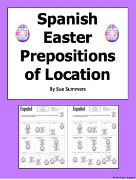 Spanish Easter Prepositions Easter Bunny and Egg - El Conejo de Pascua