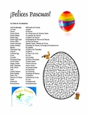 Spanish Easter Vocab List and Crossword Puzzle