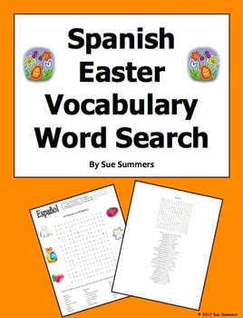 Spanish Easter Vocabulary Word Search Puzzle and  24 Word Vocabulary List