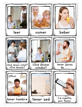 Spanish Eating at a Cafe 1 Vocabulary Posters & Flashcards with Real Photos