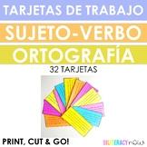 Spanish STAAR Writing Editing Spelling & Subj-Verb Task Cards - 32 task cards!