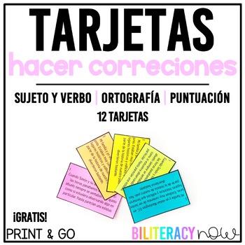 Spanish Editing Task Cards Sample