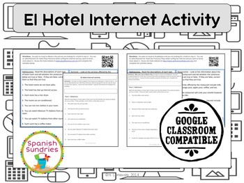 Spanish Vocabulary:  El Hotel Internet Activity