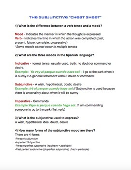 "Spanish - El Subjuntivo, The Subjunctive ""Cheat Sheet"""