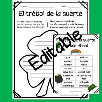 Spanish St. Patrick's Day El Trébol de la Suerte Writing and Craft Activity
