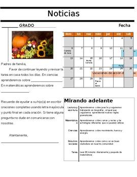 Editable Spanish Elementary Newsletter Template / Boletin de Noticias