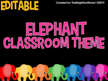 Editable Elephant Classroom Theme By Bilingual Learning Spot Tpt