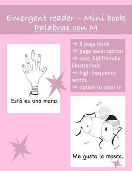 Spanish Early Emergent Reader Book - 'Palabras con M' (Editable)