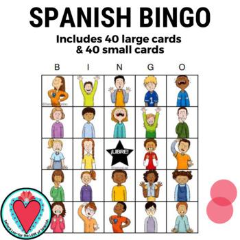 English Spanish Emotions Bingo