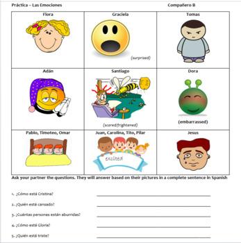 Spanish Emotions Partner Speaking Activity