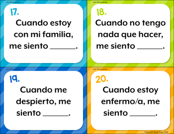 Spanish Emotions Task Cards