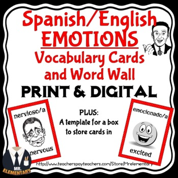 Spanish Emotions Vocabulary Flashcards and Word Wall