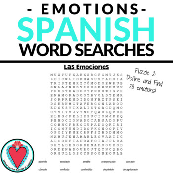 Spanish Emotions Word Search