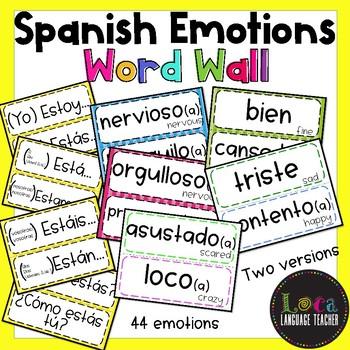 Spanish Emotions Word Wall