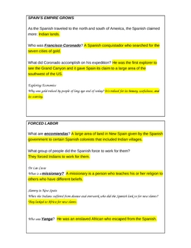 Spanish Empire Worksheet Activity Coronado Pizarro Cortes and key