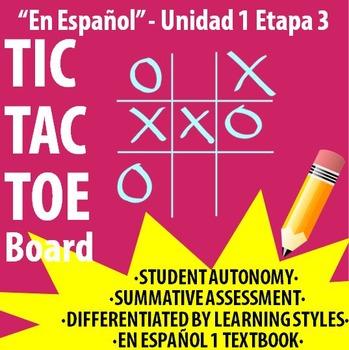 Spanish 1 - En Espanol 1 - U1E3 - Differentiated TIC TAC TOE Board