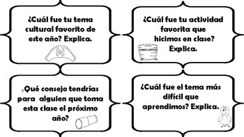 Spanish End Of Year Reflection Task Cards