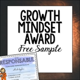 Spanish End of Year Growth Mindset Award Certificates Free Sample